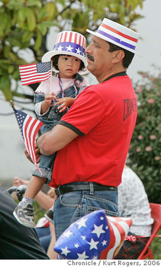 James Irby and his daughter Maya 2 and a half watch the Alameda parade .  Alameda's 4th of July Parade . KURT ROGERS/THE CHRONICLE ALAMEDA THE CHRONICLE  SFC FOURTH_alameda_0143_kr.jpg  Ran on: 07-05-2006  David Richoux of Los Altos, who calls himself the &quo;semiconductor,&quo; leads a marching band in the Redwood City parade.  Ran on: 07-05-2006  Fireworks sparkle in a fog-free Fourth of July display, with the Golden Gate Bridge in the foreground, the Bay Bridge beyond. MANDATORY CREDIT FOR PHOTOG AND SF CHRONICLE / NO SALES-MAGS OUT Photo: KURT ROGERS/THE CHRONICLE