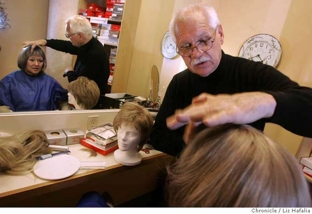 WIGMASTER_LH_131.JPG Gerd Mairandres (top), the wigmaster at San Francisco opera, donates his time once a month to a breast cancer shop at UCSF Mount Zion. He is customizing a wig to Sonja Olsen's liking. She came in from Larkspur. Photographed by Liz Hafalia/The Chronicle/San Francisco/6/27/07 **Gerd Mairandres, Sonja Olsen cq MANDATORY CREDIT FOR PHOTOGRAPHER AND SAN FRANCISCO CHRONICLE/NO SALES-MAGS OUT