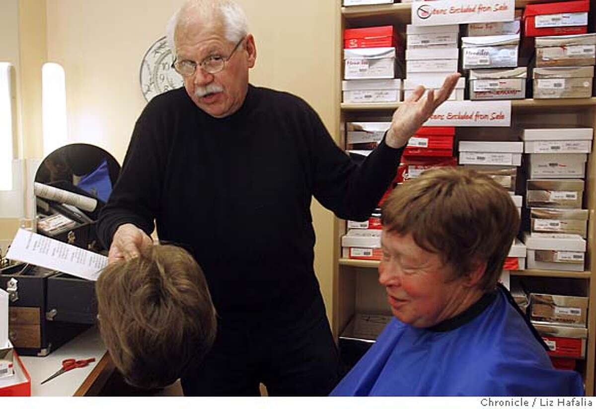 WIGMASTER_LH_046.JPG Gerd Mairandres (left), the wigmaster at San Francisco opera, donates his time once a month to a breast cancer shop at UCSF Mount Zion. He does a wig clinic there, and is giving wig tips to Rebecca Saylor (right) from San Francisco. Photographed by Liz Hafalia/The Chronicle/San Francisco/6/27/07 **Gerd Mairandres, Rebecca Saylor cq Ran on: 07-01-2007 Gerd Mairandres, the wig master for the San Francisco Opera, helps Sonja Olsen, a cancer patient from Larkspur, craft a head of hair to her liking. Ran on: 07-01-2007 Gerd Mairandres, the wig master for the San Francisco Opera, helps Sonja Olsen, a cancer patient from Larkspur, craft a head of hair to her liking.