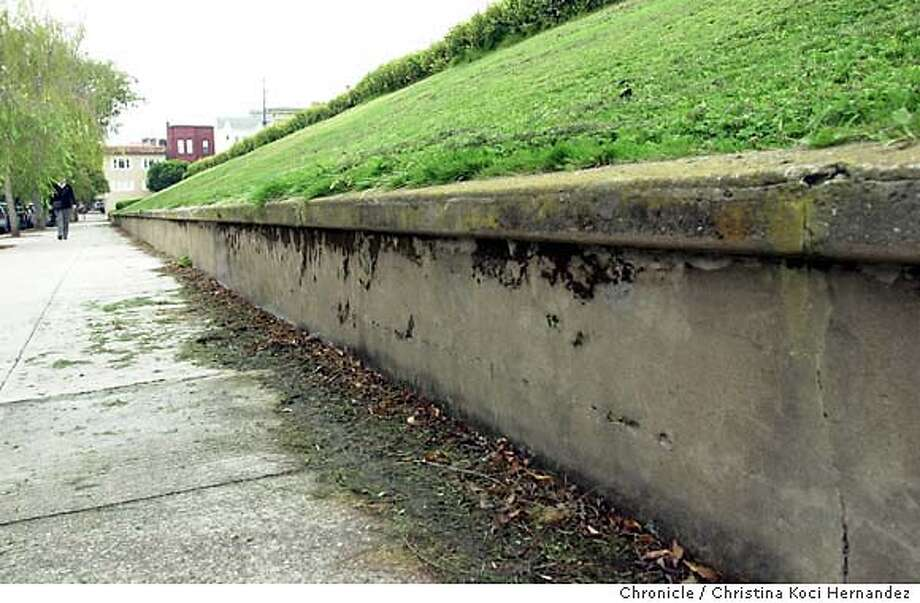 {100303_cwalta_kocihernandez}  S. side of Alta Vista Park, a sludgy part of sidewalk (although it wasn't really visible.) Shot on10/03/03 in San Francisco.  CHRISTINA KOCI HERNANDEZ / The Chronicle Photo: CHRISTINA KOCI HERNANDEZ
