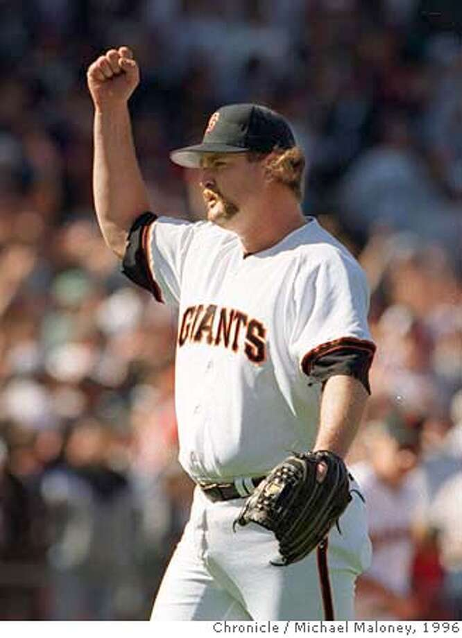GIANTS-BECK FIST/C/12APR96/SP/MJM  Giants closing pitcher Rod Beck gestures after doing his job in the ninth inning as the Giants beat the Cubs 4-1 at 3COM Park.  Photo by Michael Maloney ALSO RAN:5/17/96 CAT Photo: MICHAEL MALONEY