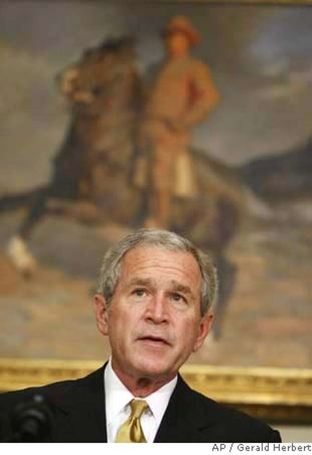 President Bush makes remarks on health care, Wednesday, June 27, 2007, in the Roosevelt Room of the White House in Washington. (AP Photo/Gerald Herbert) Photo: Gerald Herbert