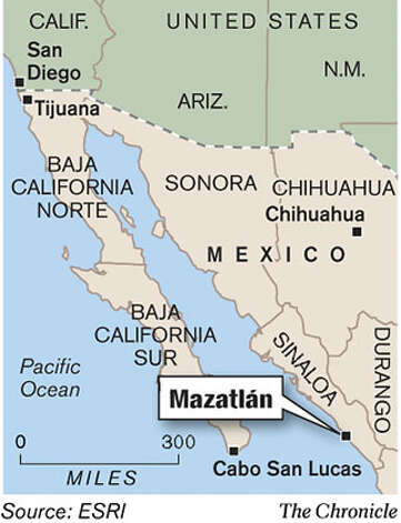 1-col map showing mazatlan plus tijuana and cabo san lucas Photo: Rick Nobles