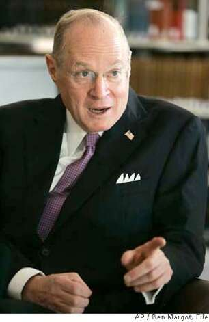 Supreme Court Justice Anthony Kennedy gestures during an interview Monday, Oct. 16, 2006, in San Francisco. (AP Photo/Ben Margot) Photo: BEN MARGOT