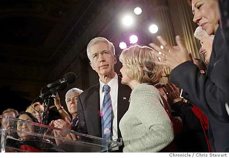 davis0004_cs.jpg Event on 10/7/03 in Los Angeles. Governor Gray Davis looks on as he and his wife Sharon greet supporters gathered at Biltmore Hotel in downtown Los Angeles to concede defeat in the recall election. Chris Stewart / The Chronicle Photo: Chris Stewart