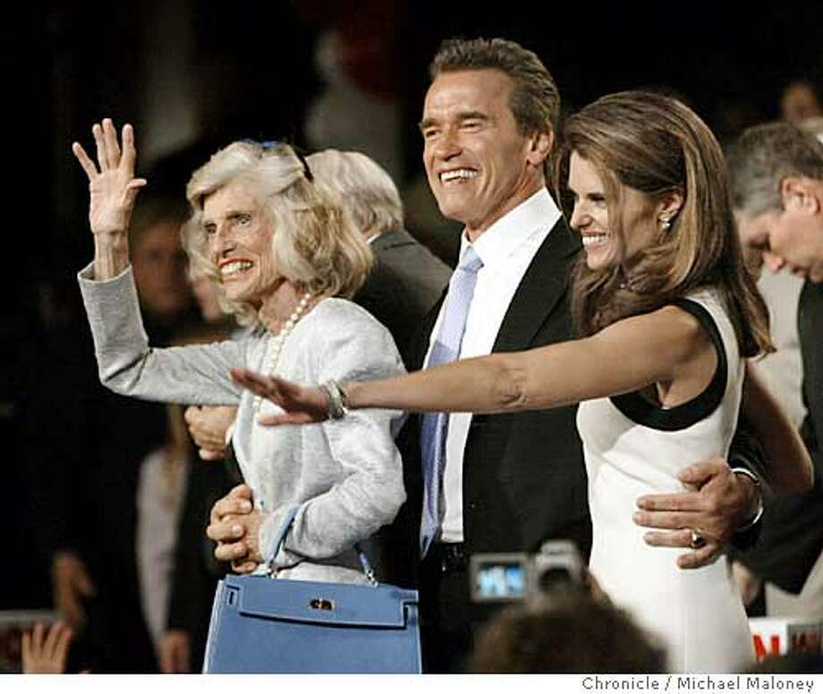 Atleft, Eunice Ke4nnedy Shriver.  Arnold Schwarzenegger and his wife Maria Shriver at the recall election night victory festivities at the Century Plaza Hotel in downtown Los Angeles.  Event on 10/7/03 in Los Angeles.  MICHAEL MALONEY / The Chronicle Photo: MICHAEL MALONEY