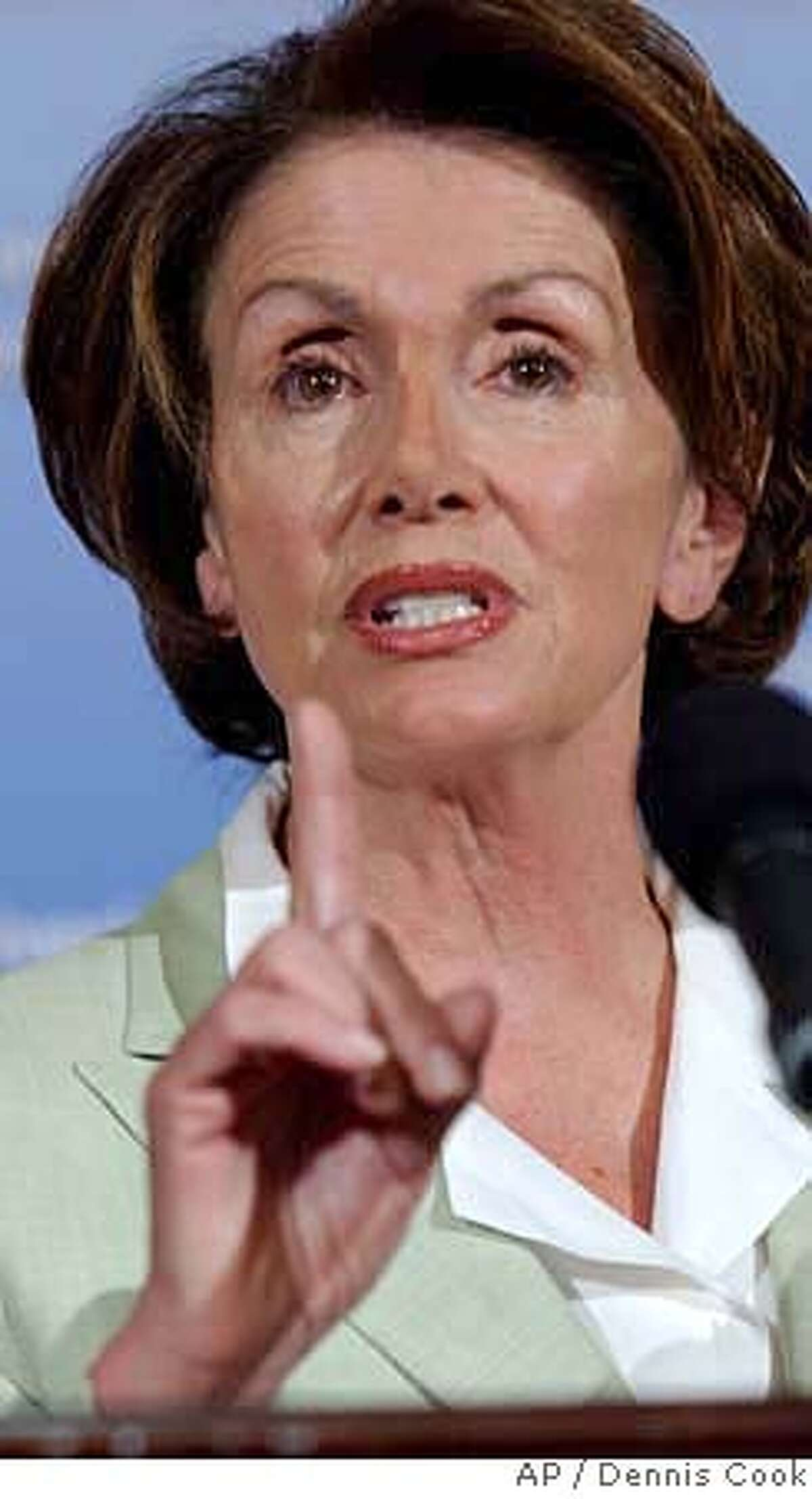 House Speaker Nancy Pelosi of Calif., gestures during a news conference on Capitol Hill in Washington, Friday, June 29, 2007. (AP Photo/Dennis Cook)