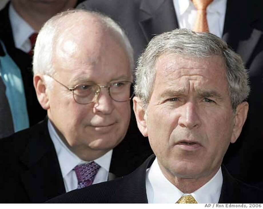 ** File Photo ** *Vice President Dick Cheney and President Bush stand in the Rose Garden of the White House in Washington in this Nov. 9, 2006, file photo. The Senate subpoenaed the White House and Vice President Dick Cheney's office, Wednesday, June 27, 2007, demanding documents and elevating the confrontation with President Bush over the administration's warrant-free eavesdropping on Americans. (AP Photo/Ron Edmonds, files) A NOV. 9, 2006 FILE PHOTO Photo: RON EDMONDS