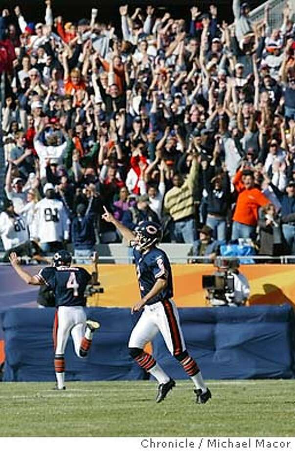 Kicker 2-Paul Edinger kicked a 48 yard field goal to give Chicago the win. Celebrates as he runs off the field at the end of the game. Oakland Raiders vs. Chicago Bears 10/5/03 in Chicago. MICHAEL MACOR/ The Chronicle Photo: MICHAEL MACOR