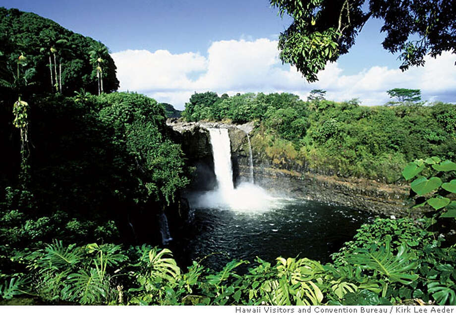 TRAVEL -- Rainbow Falls near Hilo on the Big Island of Hawaii.MUST CREDIT: Kirk Lee Aeder / Hawaii Visitors and Convention Bureau (can abbreviate last to HVCB)  Ran on: 07-30-2006  Indecisive Country: Someone on the naming commission in Morgantown, W.V., has a sense of justice. Or humor. Submit your unintentionally funny sign photos to www.signspotting.com. (Do not send them to The Chronicle.) If we use one, you will receive $50 plus the chance to win an around-the-world ticket. Photo: Kirk Lee Aeder