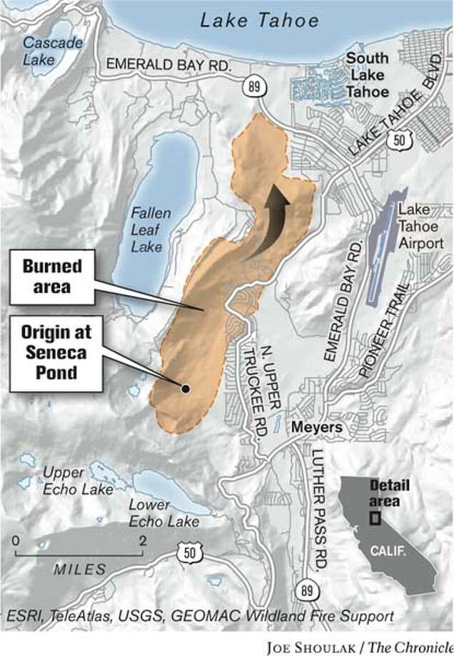 Lake Tahoe Wildfire. Chronicle graphic by Joe Shoulak