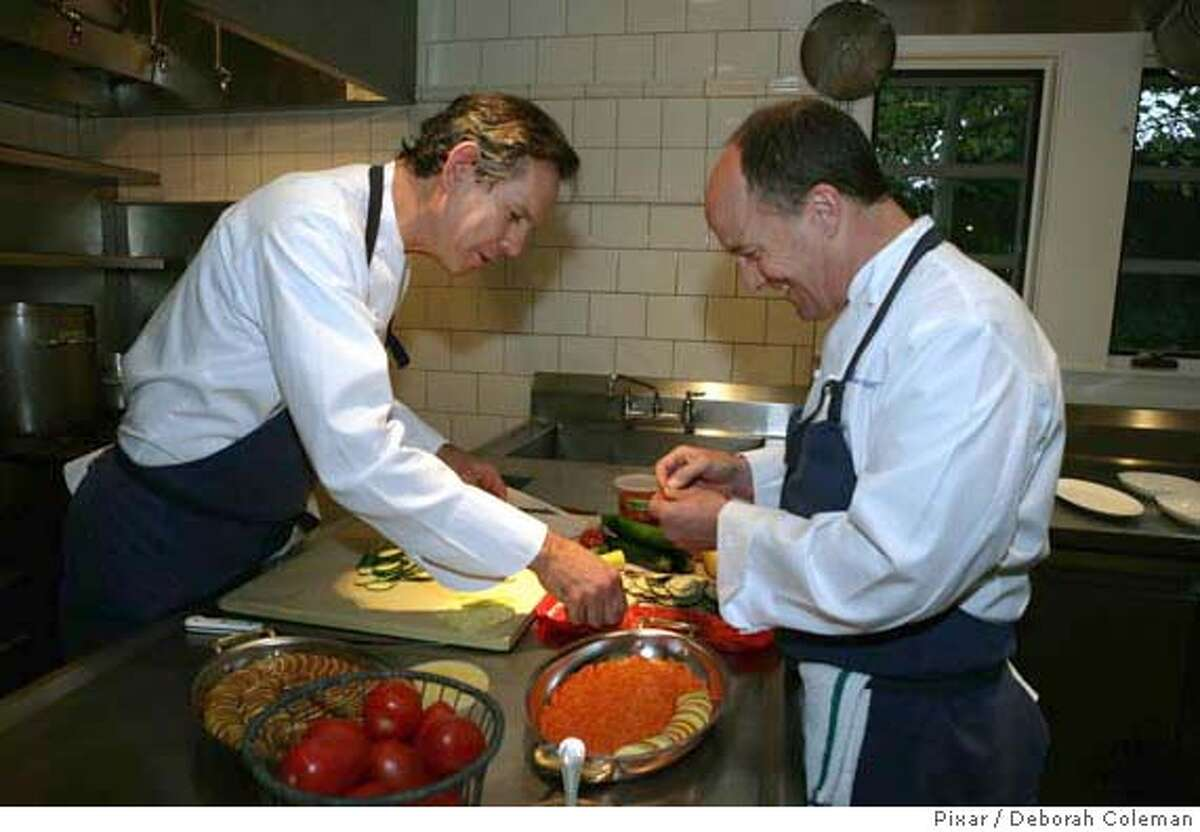 French Laundry Chef Thomas Keller teaches Ratatouille Producer Brad Lewis how to make ratatouille in the restaurant's kitchen, which is owned and run by world-renowned Chef Thomas Keller on May 1, 2007 in Yountville, Calif. French Laundry and Chef Thomas Keller helped influence Pixar Animation Studios' film, Ratatouille. (Photo by Deborah Coleman / Pixar)