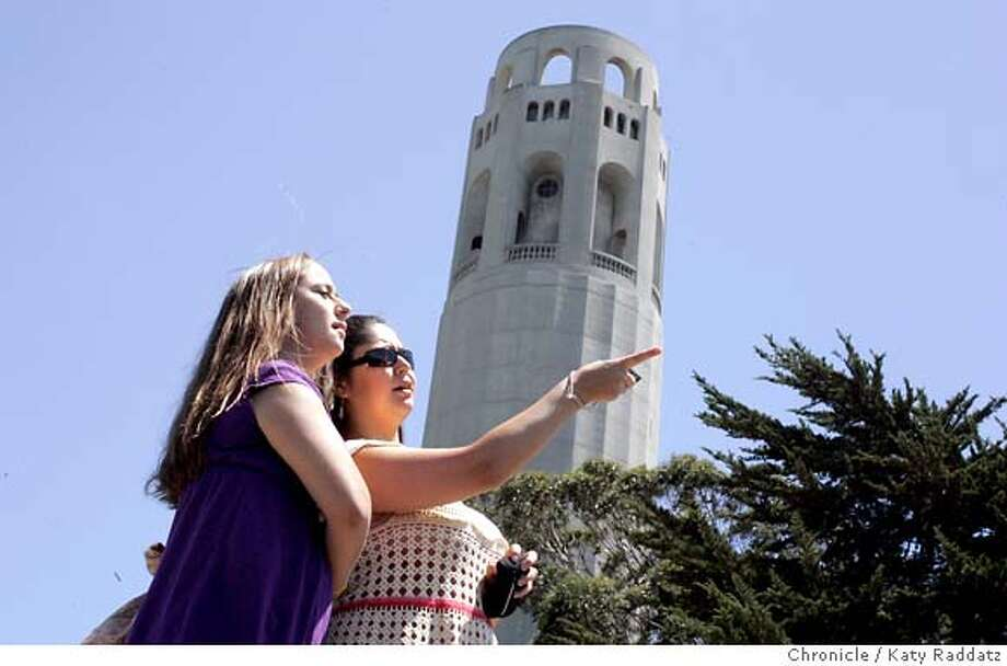 TOURISM28_009_RAD.jpg  SHOWN: L to R: Julie Rodriguez, Tina Rodriguez, sisters, visiting from Orange County, after admiring Coit Tower, admire the rest of the view. Tourism in San Francisco is up! These pictures were made on Wednesday, June 27, 2007 in San Francisco, CA. (Katy Raddatz/The Chronicle)  **Julie and Tina Rodriguez Mandatory credit for the photographer and the San Francisco Chronicle. No sales; mags out. Photo: Katy Raddatz