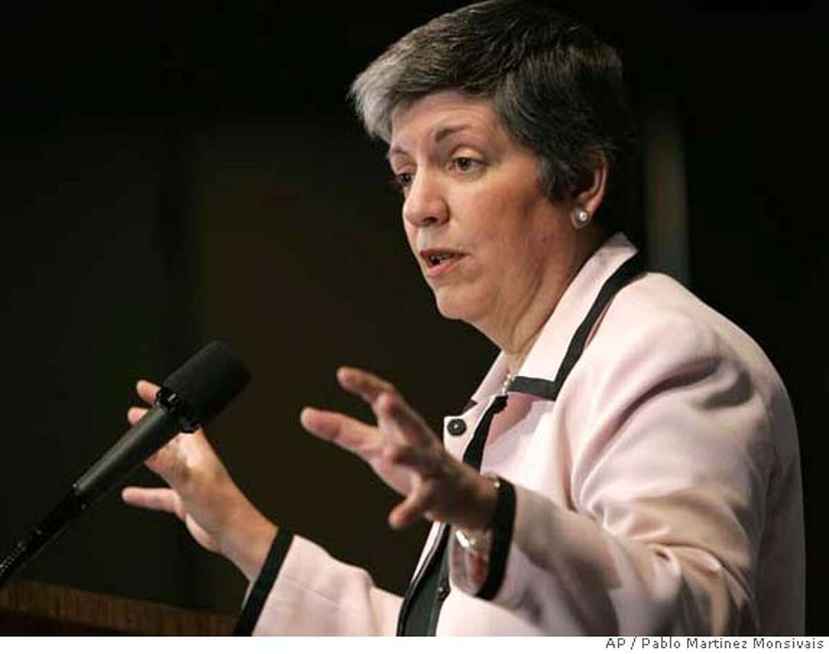 Arizona Gov. Janet Napolitano speaks at a discussion on immigration reform sponsored by the Center for American Progress Action Fund, Wednesday, June 27, 2007, at the National Press Club in Washington. (AP Photo/Pablo Martinez Monsivais)