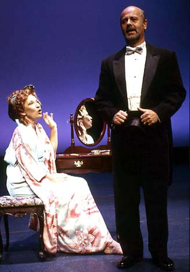 For WN05, datebook ; Aging actress Desiree (Charlotte Cornwell) tries to seduce old flame Fredrik (Allen Fitzpatrick) in TheatreWorks' elegant production of Stephen Sondheim's A LITTLE NIGHT MUSIC. Photo credit; David Allen; 9/29/03 in . David Allen / HO Photo: David Allen