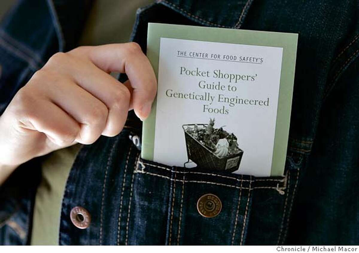 foodconcious27_022_mac.jpg The Center for Food Safety's Pocket Shoppers Guide to Genetically Engineered Food. Photographed in, Studio, Ca, on 6/21/07. Photo by: Michael Macor/ The Chronicle Mandatory credit for Photographer and San Francisco Chronicle No sales/ Magazines Out