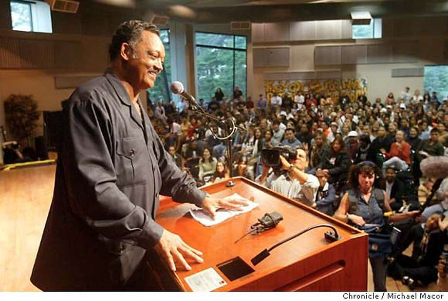 race049_mac.jpg The Rev. Jesse Jackson speaks to the students of San Francisco State University in a rally to urge a no vote on the recall and a no vote on Pro. 54. Jack Adams Hall was filled to capacity and students were turned away. 10/2/03 in San Francisco. MICHAEL MACOR/ The Chronicle Photo: MICHAEL MACOR
