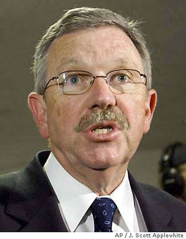 David Kay, special advisor to the CIA in the search for weapons of mass destruction in Iraq, talks to reporters on Capitol Hill in Washington following a day of briefings to Congress, Thursday, Oct. 2, 2003. (AP Photo/J. Scott Applewhite) Photo: J. SCOTT APPLEWHITE