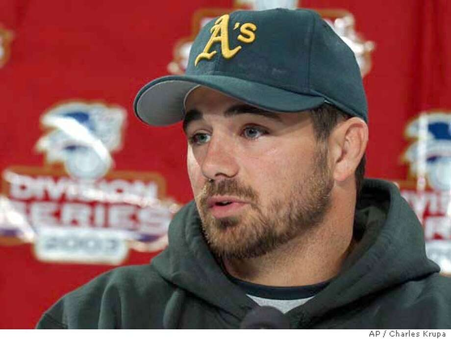 Oakland Athletics pitcher Ted Lilly answers questions during a news conference at Fenway Park in Boston, Friday, Oct. 3, 2003. Lilly will face Boston Red Sox pitcher Derek Lowe in their game three match-up on Saturday. The Athetics are a win away from sweeping the Red Sox and advancing to the American League Championship Series. (AP Photo/Charles Krupa) Photo: CHARLES KRUPA