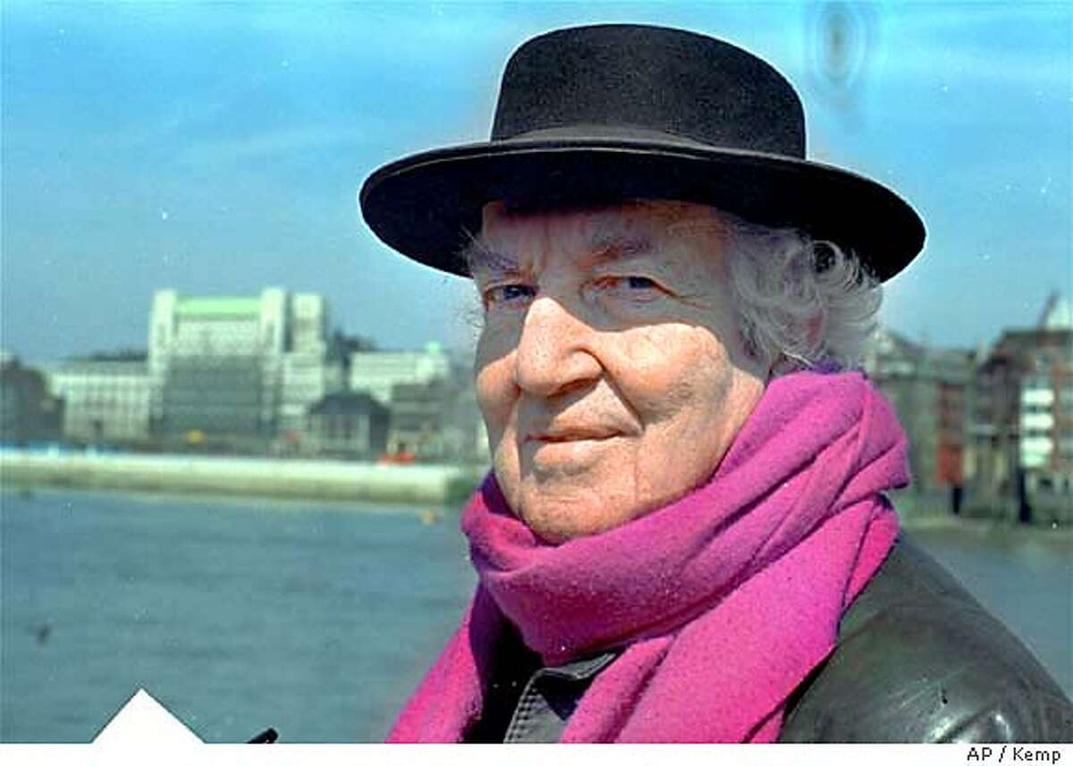 Poet Robert Graves, on one of his rare visits to London, is photographed on Bankside, Southwark, April 21, 1972, where the Globe Playhouse Trust plans to rebuild a 16th Century community on the spot where Shakespeare's Globe Theatre once stood. (AP Photo/Kemp)