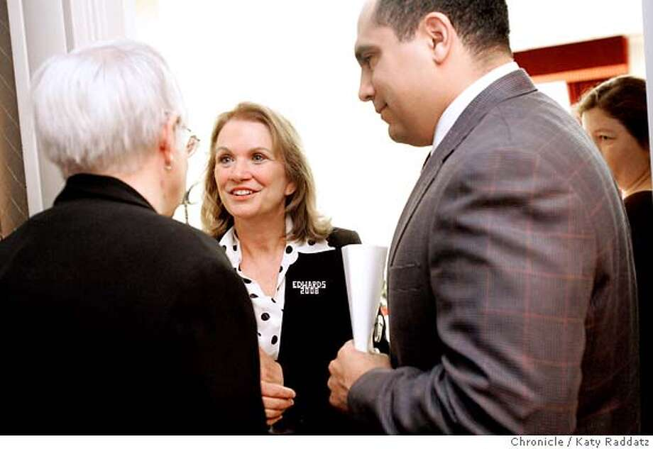 SHOWN: Elizabeth Edwards greets an admirer after addressing the Pride Breakfast. The admirer did NOT want to give her name. Elizabeth Edwards, wife of presidential candidate John Edwards, speaks to the Alice B. Toklas Pride Breakfast, a breakfast hosted by the Alice B. Toklas LGBGT Democratic Club at the Sir Francis Drake Hotel in San Francisco. These pix made on Sunday, June 24, 2007, in San Francisco, CA.  (Katy Raddatz/The Chronicle)  **Elizabeth Edwards Photo: Katy Raddatz