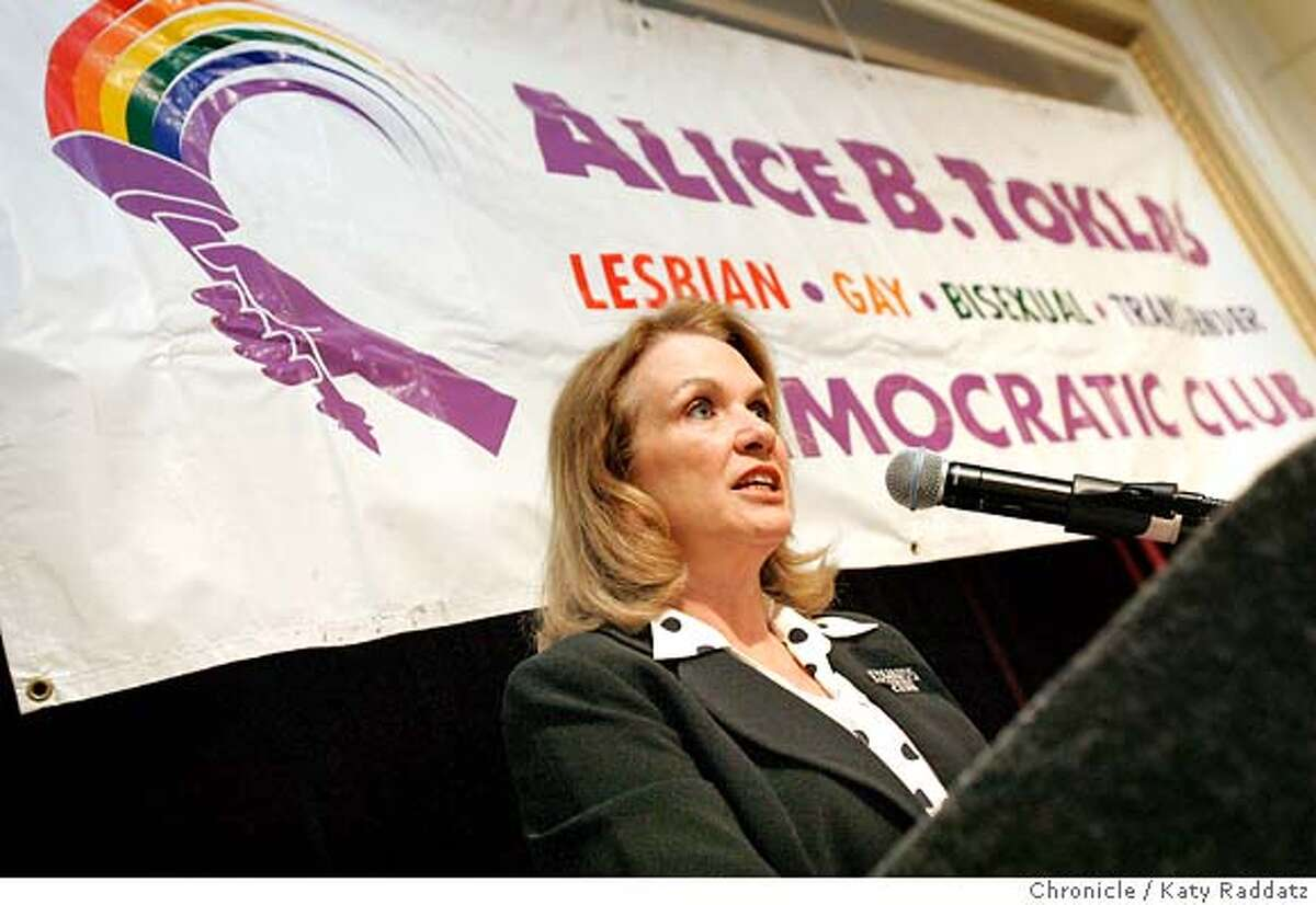 SHOWN: Elizabeth Edwards, wife of presidential candidate John Edwards, speaks to the Alice B. Toklas Pride Breakfast, a breakfast hosted by the Alice B. Toklas LGBGT Democratic Club at the Sir Francis Drake Hotel in San Francisco. These pix made on Sunday, June 24, 2007, in San Francisco, CA. (Katy Raddatz/The Chronicle) **Elizabeth Edwards
