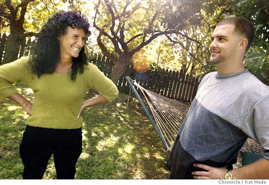 """(L to R) Meredith (CQ) Maran, author of the book, """"DIRTY: A search for Answers inside America's Teenage Drug Epidemic"""" poses with her son, Jesse Graham, 23, in the backyard of her home on 9/15/03 in Berkeley. It was Graham's struggles with drug addiction that inspired Maran to write the book. Kat Wade / The Chronicle Photo: Kat Wade"""