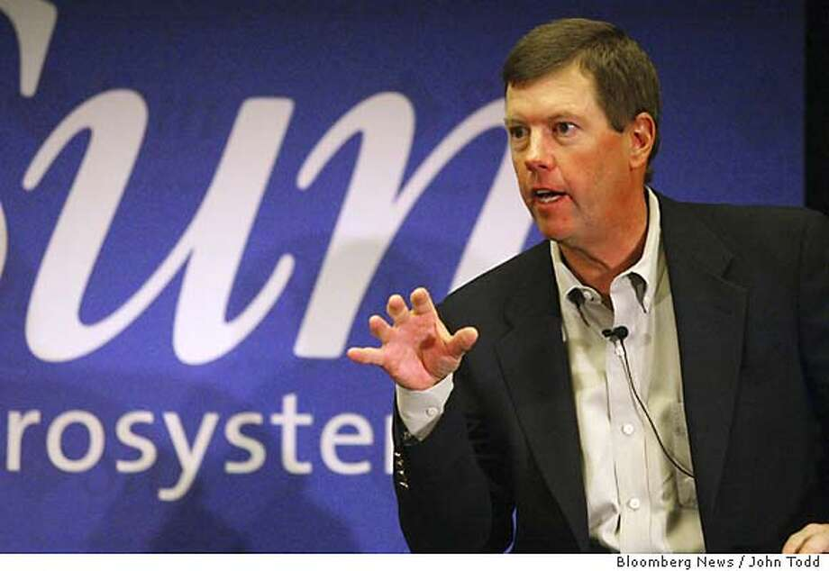 Sun Microsystems CEO Scott McNealy answers a question during a news conference after the keynote address at the Sun Network Conference in San Francisco, California, Tuesday, September 16, 2003. Photographer: John Todd/ Sun Microsystems/ via Bloomberg News. Photo: John Todd