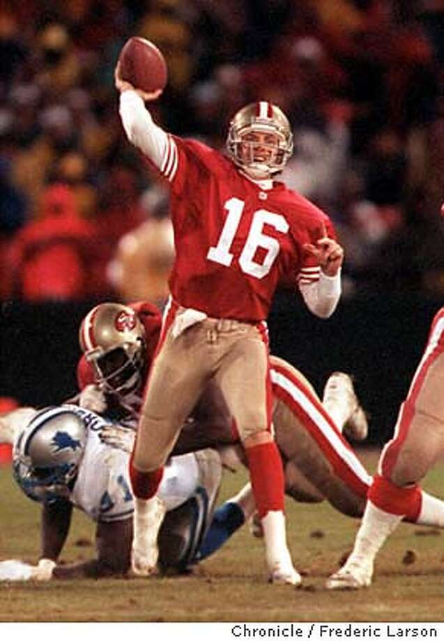MONTANA/28DEC92/SP/FRL: 49ers OB Joe Montana returns to the line-up against the Detroit Lions after a long injury. Chronicle photo by Frederic Larson. SPORTS SPECIAL SECTION 12/15/97. ALSO RAN: 10/28/99 CAT Photo: FREDERIC LARSON