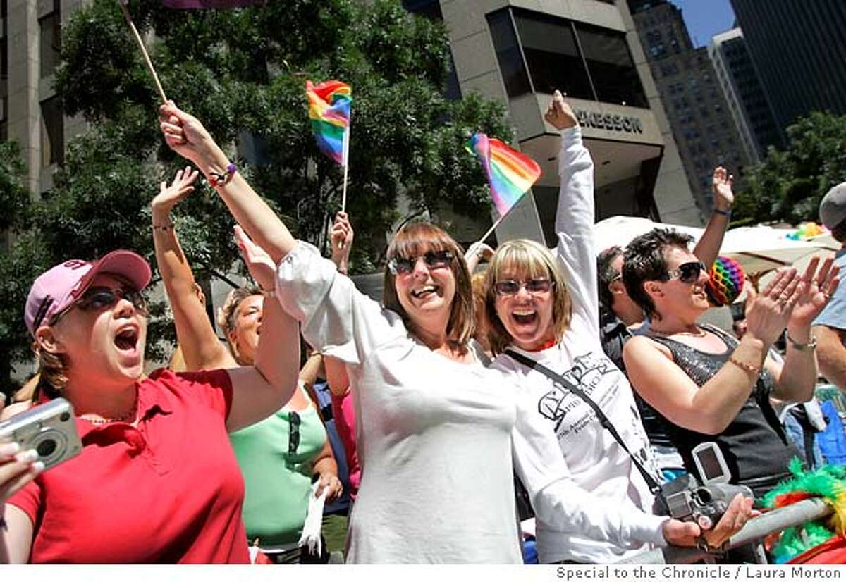 Kelly Ofarrell, Michelle KcKeown and Barbara Moore (left to right) game all the way from Liverpool, England to watch Sunday's LGBT Pride Parade in San Francisco, CA. (Laura Morton/Special to the Chronicle) *** Kelly Ofarrell *** Barbara Moore *** Michelle McKeown
