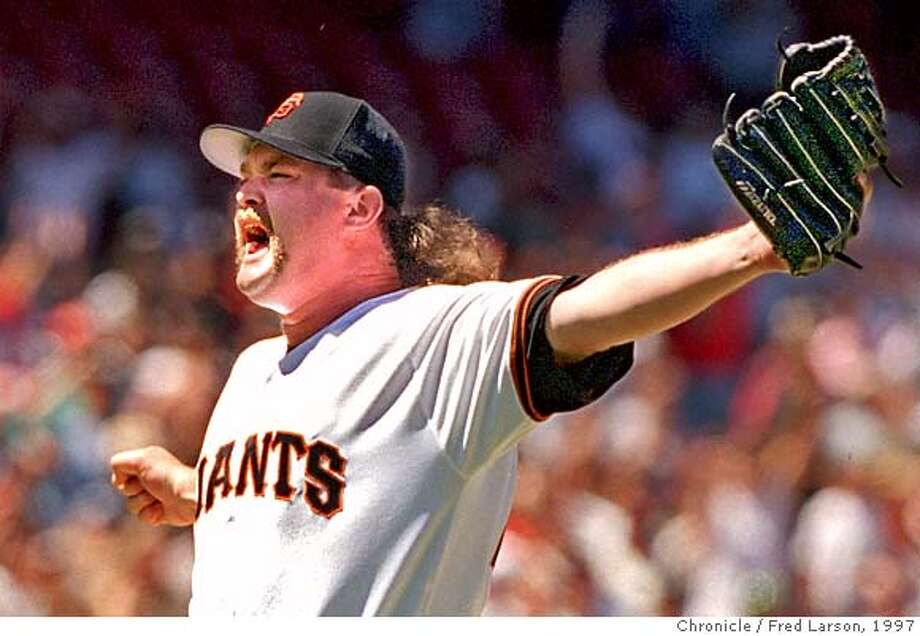 GAINTS BECK/17JUN97/SP/FRL: Ace Giants closer Rod Beck strikes out the side for the second save of the two games series against the Seattle Mariners at 3Com. Beck leads the National League with 23 saves. Chronicle photo by Frederic Larson. CAT Photo: FREDERIC LARSON