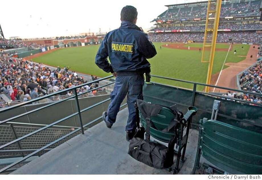 � ermag3_0037_db.JPG Paramedic Destin Tianero of King-American Ambulance keeps an eye out during the Giants Astros game in San Rafael, CA, on Tuesday, May, 22, 2007. photo taken: 5/22/07 Darryl Bush / The Chronicle ** roster (cq) MANDATORY CREDIT FOR PHOTOG AND SF CHRONICLE/NO SALES-MAGS OUT Photo: Darryl Bush