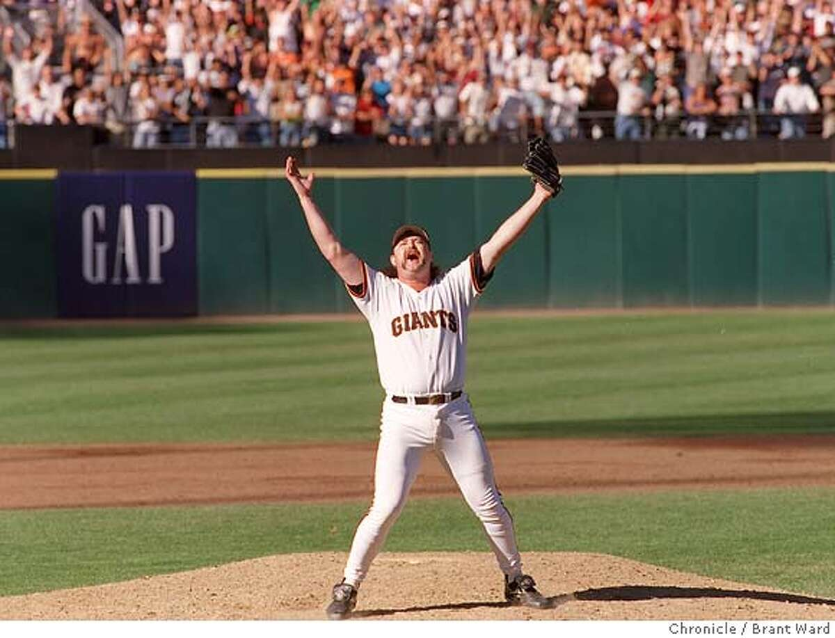 BECK JUBE/27SEP97/MN/WARD-- reacted to his strike out of Greg Vaughn to wrap up the Western Division title. By Brant Ward/Chronicle