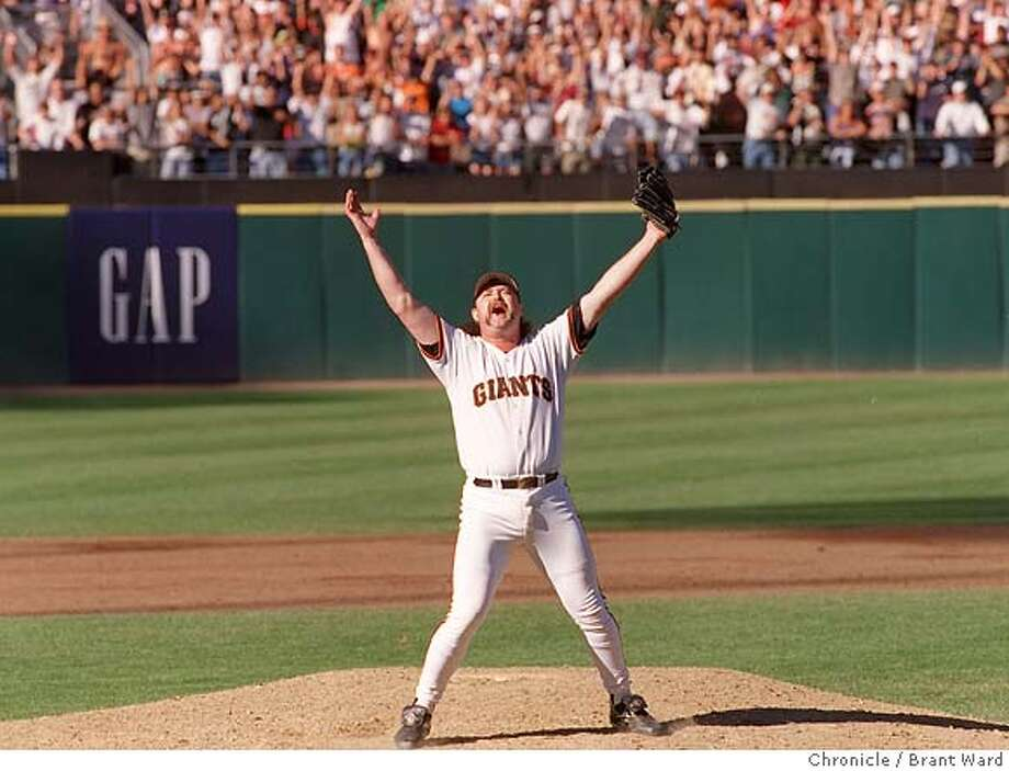 BECK JUBE/27SEP97/MN/WARD-- reacted to his strike out of Greg Vaughn to wrap up the Western Division title. By Brant Ward/Chronicle Photo: BRAND WARD