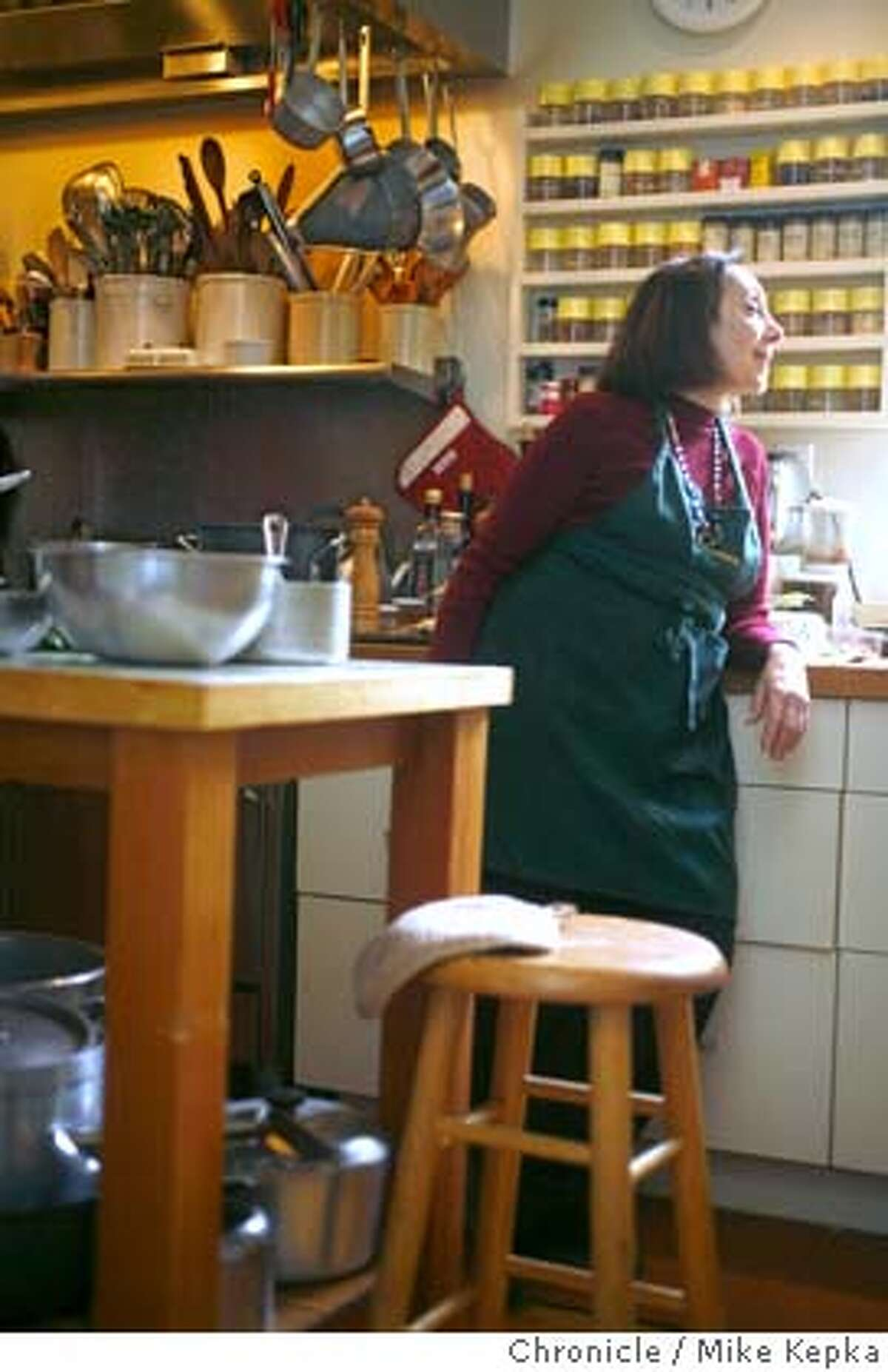 � womenchefs_goldstein00244.JPG Joyce Goldstein often can be found testing recipes in her San Francisco home. 5/9/07. Mike Kepka / The Chronicle Joyce Goldstein (cq) MANDATORY CREDIT FOR PHOTOG AND SF CHRONICLE/NO SALES-MAGS OUT