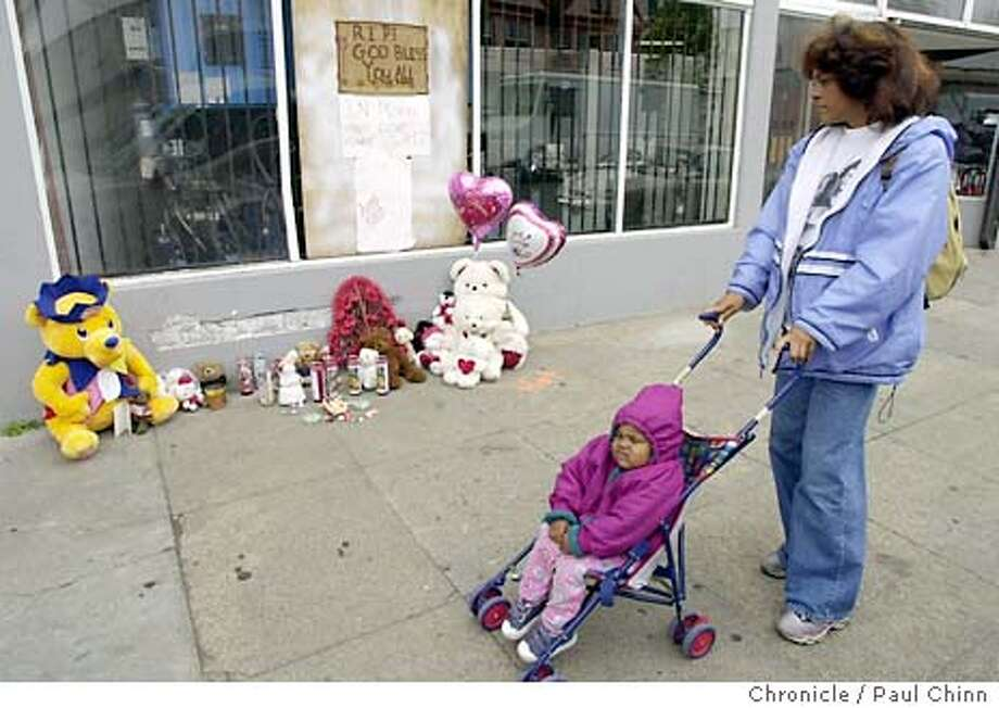 hitrun02019_pc.jpg Susan Henderson and her daughter Krista paused to pay their respects as they walked on San Pablo Ave. A memorial is growing at 24th St. and San Pablo Ave. in Oakland on 10/1/03. Jacqueline Ochoa, 4, was killed on the sidewalk by a hit and run driver Tuesday. PAUL CHINN / The Chronicle Photo: PAUL CHINN