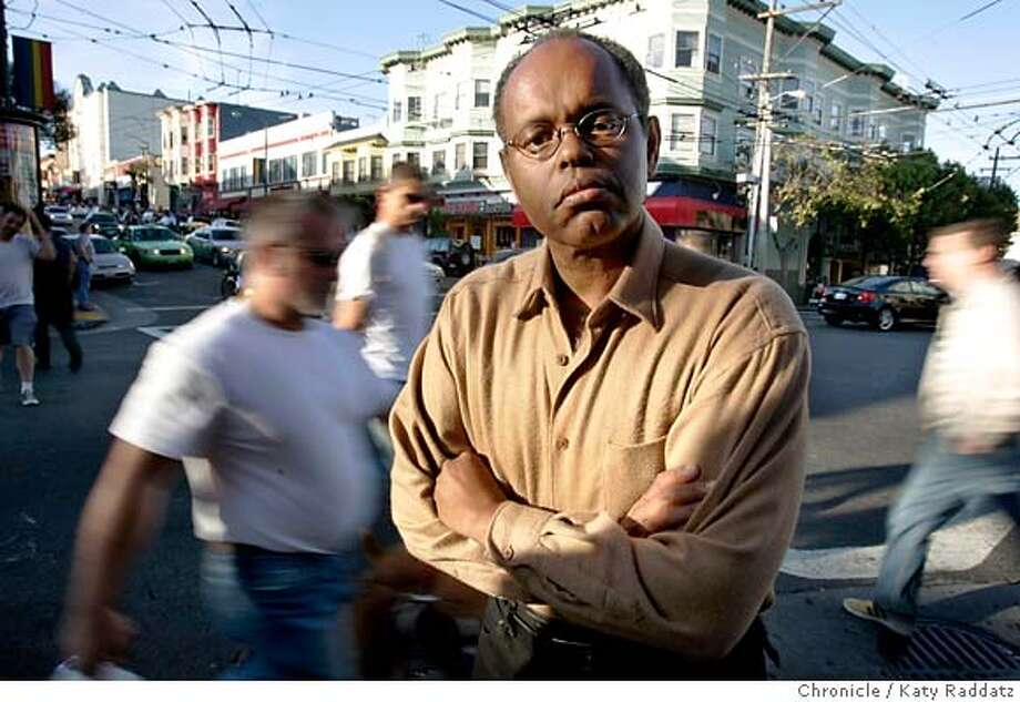 "MAGNETPRIDEXX_031_RAD.jpg  SHOWN: Bill Doggett, shown in the Castro District of San Francisco. Bill Doggett, along with 2 friends, began a monthly mixer for black gay men when The Pendulum, a club for black gay men, closed. Doggett and his friends held their mixers at a place called Magnet, which recently closed. Bill said, ""When the Pendulum closed we seemed to lose a presence in the Castro. We're trying to reverse that."" These pix made on Sunday, June 17, 2007, in San Francisco, CA.  (Katy Raddatz/The Chronicle)  **Bill Doggett Mandatory credit for the photographer and the San Francisco Chronicle. No sales; mags out. Photo: Katy Raddatz"