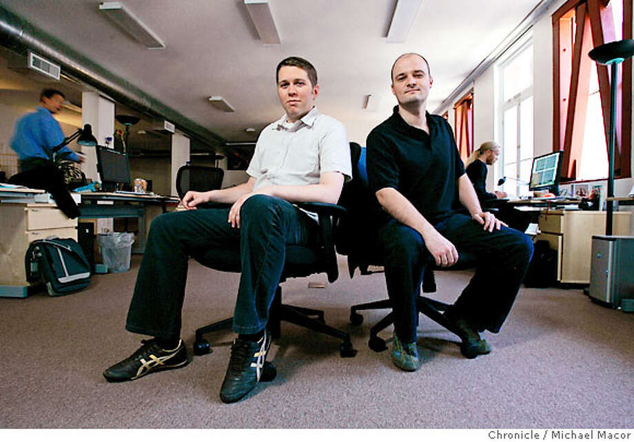 stumble20_007_mac.jpg StumbleUpon is a Web 2.0 company that was just acquired by ebay. Stumble founders Garrett Camp, ( left) and Geoff Smith, (Third founder, Justin LaFrance unavailable for photo), stumbled onto the technology, then stumbled into an a-list of silicon valley investors, and moved to San Francisco and had a whirlwind ride, culminating in selling the company for $75 million in cash. Photographed in, San Francisco, Ca, on 6/19/07. Photo by: Michael Macor/ The Chronicle Ran on: 06-24-2007  StumbleUpon founders Garrett Camp (left) and Geoff Smith are making themselves at home in San Francisco these days. The two, along with Justin LaFrance, founded the company years ago, relying on word of mouth. Now it has been bought by eBay. Photo: Michael Macor