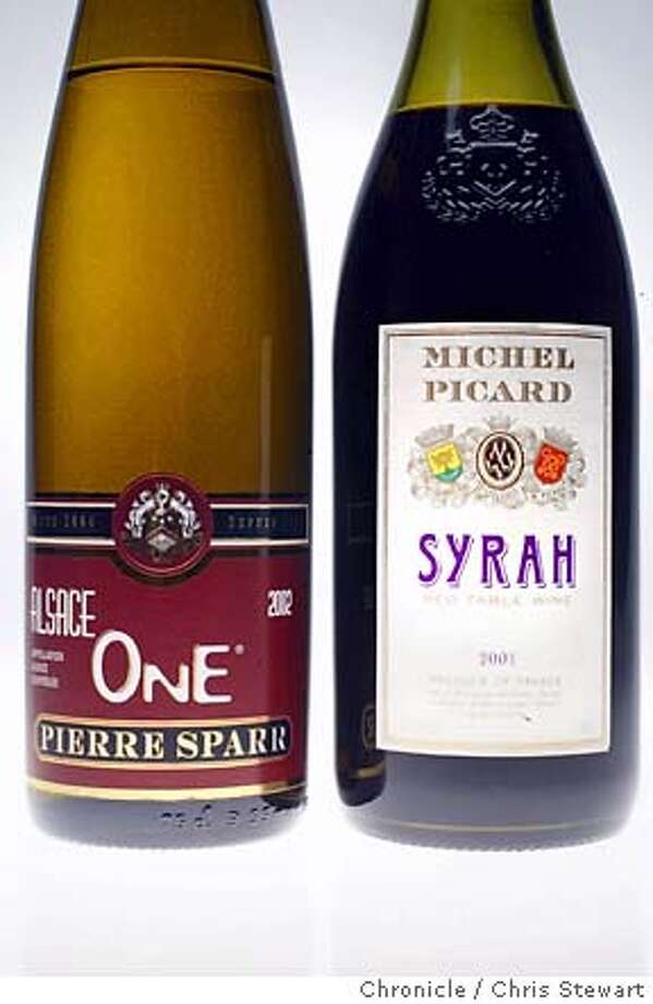 "Event on 9/30/03 in San Francisco Bargain wine column: 2002 Pierre Sparr ""One"" and 2001 Michel Picard Syrah Chris Stewart / The Chronicle Photo: Chris Stewart"