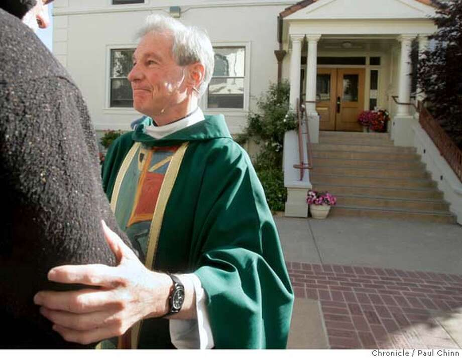 Father Rich Danyluk hugs a parishioner after morning mass at St. Joseph Basilica in Alameda, Calif. on Friday, June 22, 2007. Danyluk, the only openly gay priest in the Bay Area, is set to retire on June 30 but will conduct his official farewell mass this Saturday.  PAUL CHINN/The Chronicle  **Rich Danyluk MANDATORY CREDIT FOR PHOTOGRAPHER AND S.F. CHRONICLE/NO SALES - MAGS OUT Photo: PAUL CHINN