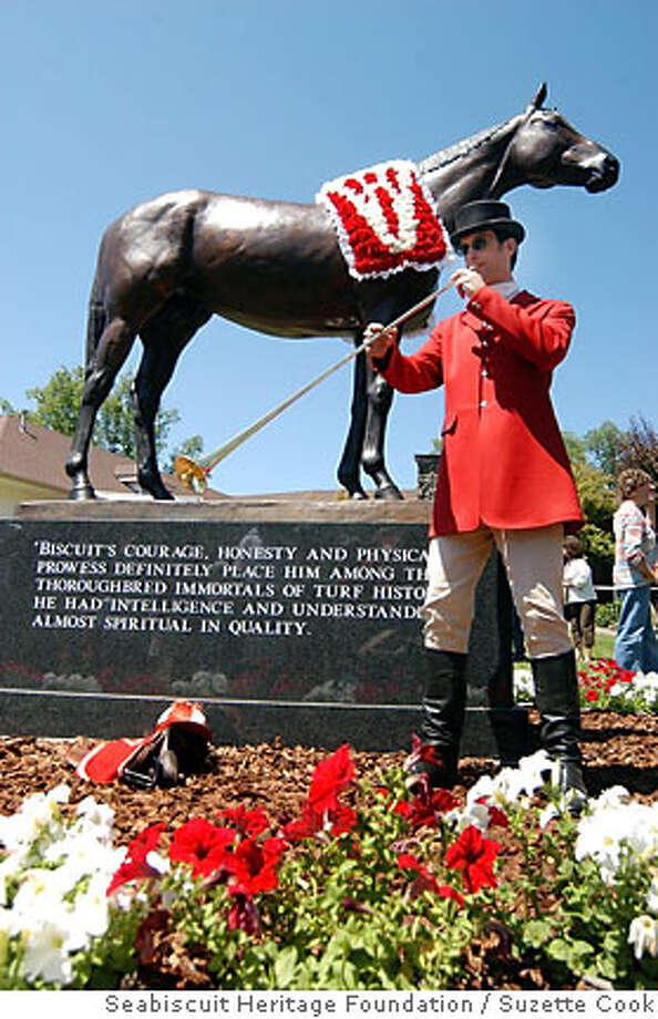 In this photo provided by Seabiscuit Heritage Foundation, Bugler Pete Estabrook of Santa Rosa, Calif., the only racetrack bugler in Northern California race circuit, performs a call to post following the unveiling and dedication of the Seabiscuit Statue at Ridgewood Ranch, Saturday, June 23, 2007, in Willits, Calif. (AP Photo/Seabiscuit Heritage Foundation, Suzette Cook) ** NO SALES ** Photo: Suzette Cook