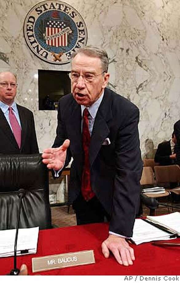Senate Finance Committee Chairman Sen. Charles Grassley, R-Iowa, talks to reporters on Capitol Hill Tuesday, April 26, 2005, prior to a hearing on overhauling Social Security. (AP Photo/Dennis Cook) Ran on: 04-27-2005  Rep. Charles Rangel, D-N.Y., greets supporters at a noisy rally on Capitol Hill to preserve Social Security. Ran on: 04-27-2005  Rep. Charles Rangel, D-N.Y., greets supporters at a noisy rally on Capitol Hill to preserve Social Security. Ran on: 05-26-2005  Sen. Charles GrassleyRan on: 02-09-2006  Sen. Charles Grassley, R-Iowa, chairman of the Senate Finance Committee, supported cost-basis reporting legislation in 1982. Photo: DENNIS COOK