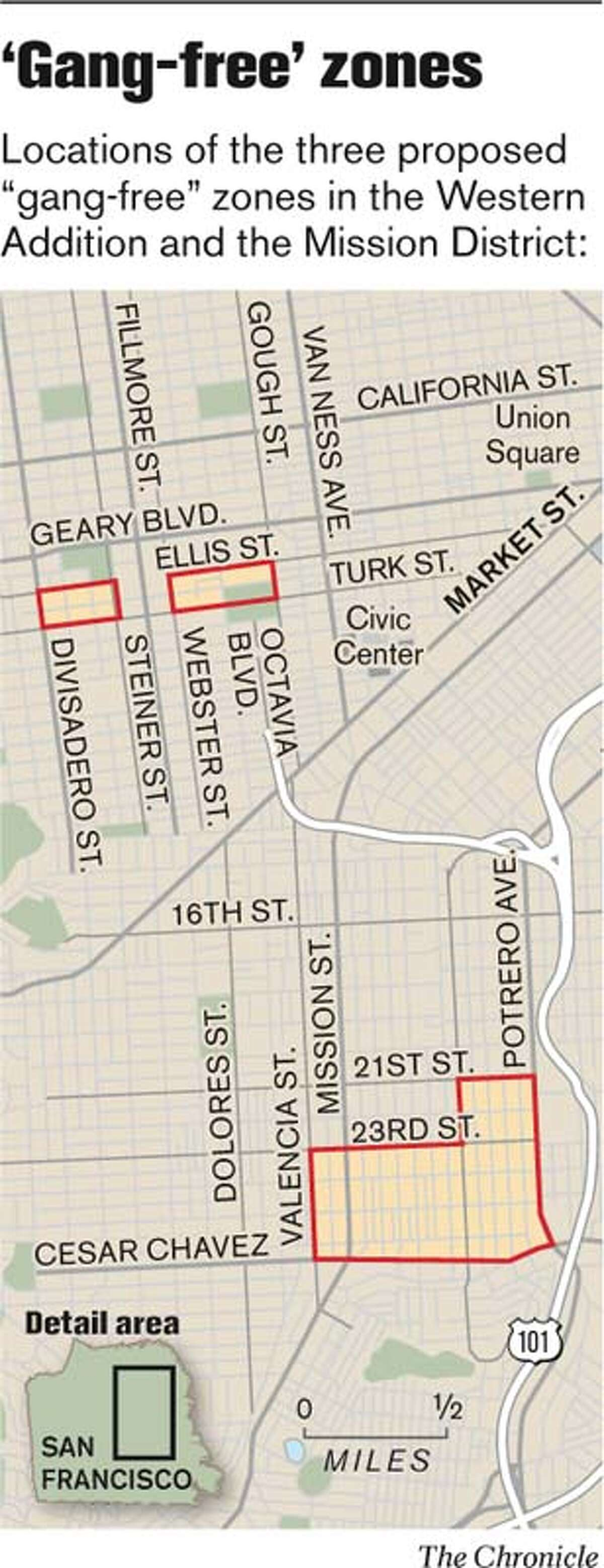 """""""Gang-Free"""" Zones. Chronicle Graphic"""