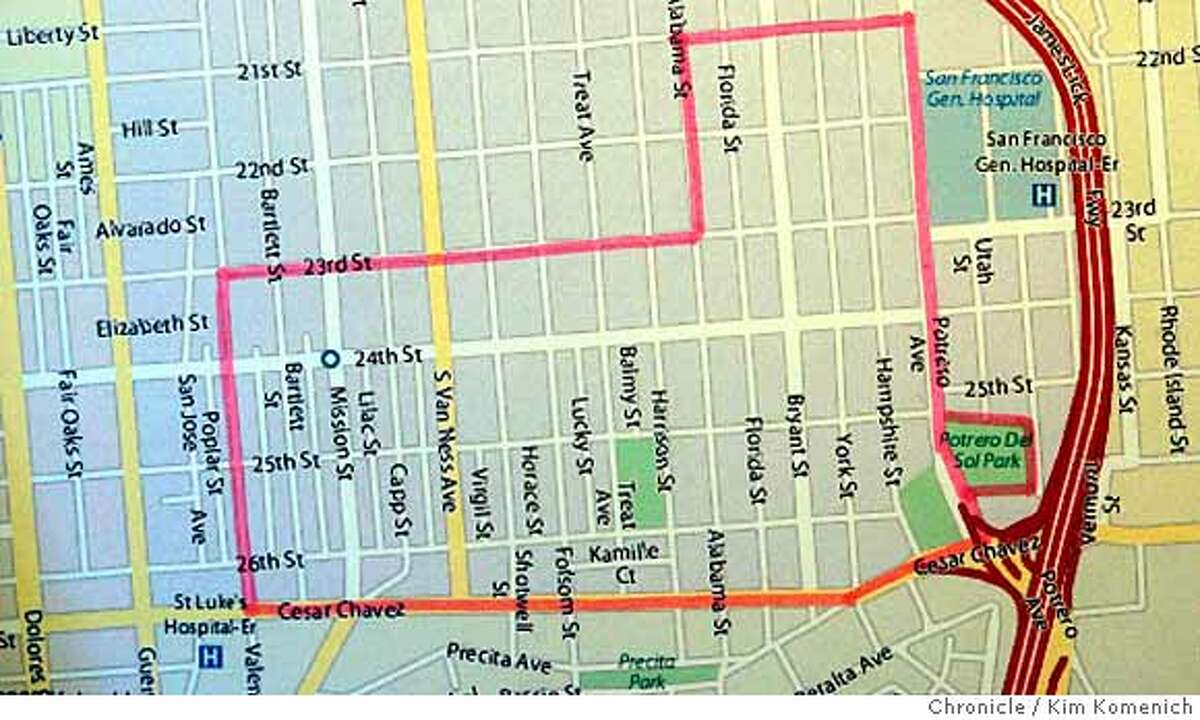 This map details the area in the Mission covered by the injunction announced Thursday morning by San Francisco City Attorney Dennis Herrera against four gangs in the Mission and the Western Addition. Photo by Kim Komenich/The Chronicle **Dennis Herrera