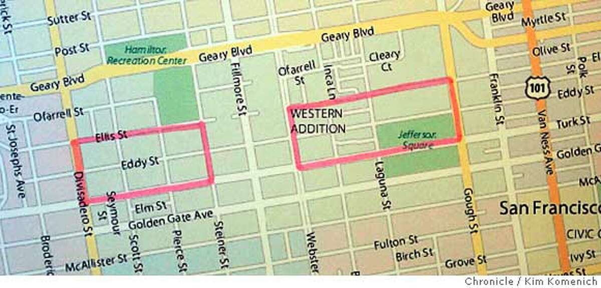 This map details the area in the Western Addition covered by the injunction announced Thursday morning by San Francisco City Attorney Dennis Herrera against four gangs in the Mission and the Western Addition. Photo by Kim Komenich/The Chronicle **Dennis Herrera