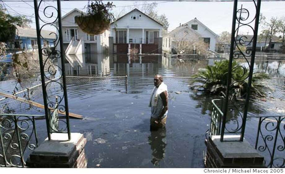 katrina7_217_mac.jpg Just 5 days ago 62 year old Phillip Turner was getting to his Gallier St. home by walking through 4 feet of water. He lives in the Bywater district of New Orleans. The aftermath of Hurricane Katrina that ravaged the gulf coast states, New Orleans, Louisiana. 9/7/05 New Orleans , La Michael Macor / San Francisco Chronicle Ran on: 09-13-2005  A cat was left on St. Anthony Street. Neighbors later freed it. Mandatory Credit for Photographer and San Francisco Chronicle/ NO Sales- Magazine Out Photo: Michael Macor