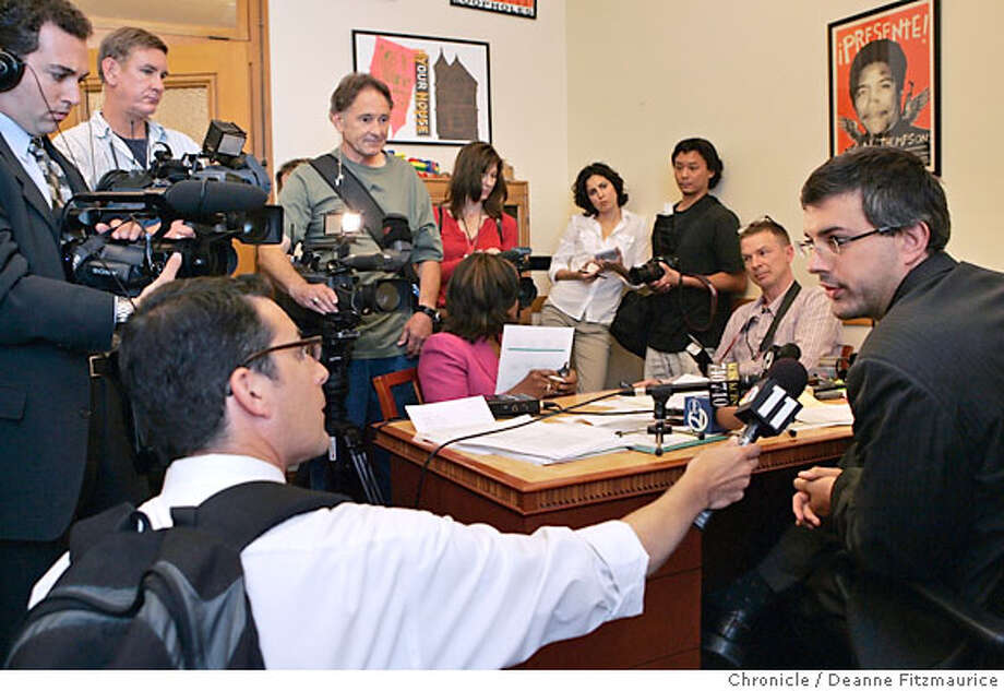 Supervisor Chris Daly talks to a crowd of media about his suggestion that the mayor used cocaine. Photographed in San Francisco on 6/20/07. Deanne Fitzmaurice / The Chronicle Photo: Deanne Fitzmaurice