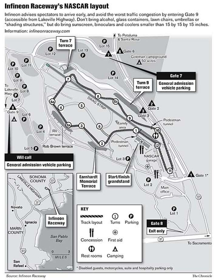 Infineon Raceway's NASCAR Layout. Chronicle Graphic