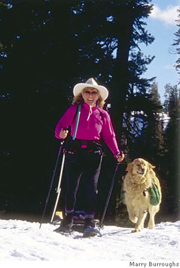 Cathy Anderson-Meyers through her company CathyWorks, leads winter snowshoe excursions along the I-80 corridor in places like the Castle Peaks Recreation Area near Donner Summit. Photo: Marry Burroughs Photo: Marry Burroughs