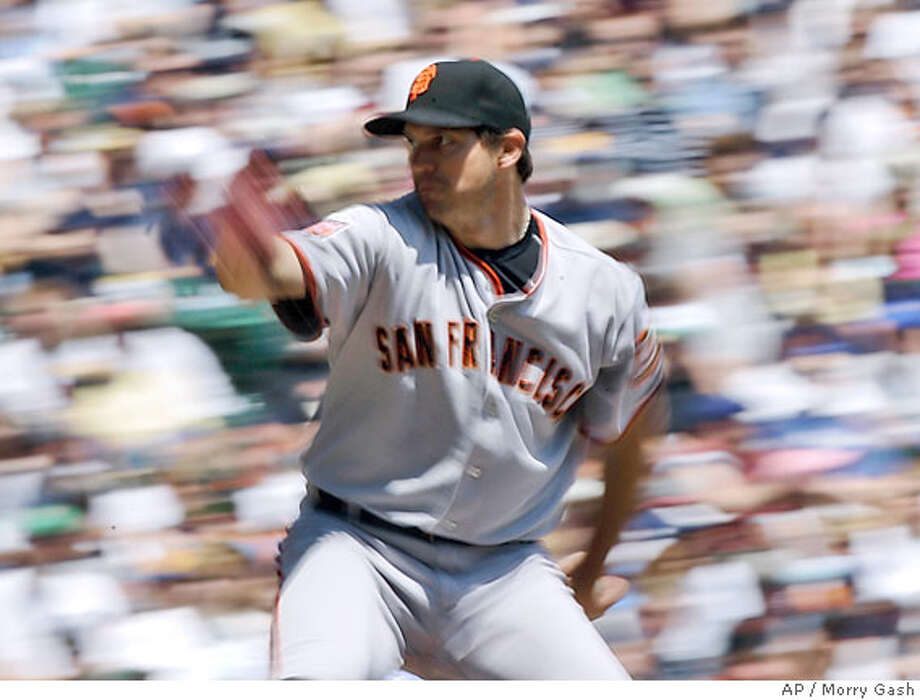 San Francisco Giants starter Barry Zito throws a pitch during the first inning of a baseball game against the Milwaukee Brewers Wednesday, June 20, 2007, in Milwaukee. (AP Photo/Morry Gash) Photo: Morry Gash